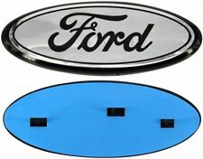 """Ford 9"""" x 3.5"""" CHROME OVAL BLACK LOGO Emblem  2004-2016 Grille and/or Tailgate"""