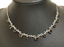 925 Solid Sterling Silver & Smoky Quartz chain necklace