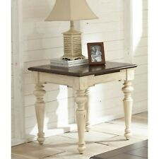 Wood End Table Brown Nightstand Side Accent White Farmhouse Distressed Bedroom