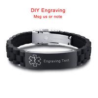Emergency SOS Medical Alert ID Men Bracelet Black Silicone Customize Engraving