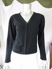 DELIAS XL Acrylic/Cotton Black Snap On's V-Neck Cardigan Short Straight Sweater