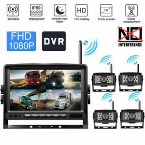 Digital Wireless1080P Quad Split Monitor Camera Rear View DVR Video Recorder Kit