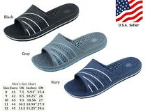 MEN'S SLIP ON FLIP FLOPS SHOWER SANDALS  BLACK NAVY RED GRAY SIZES 8 - 12