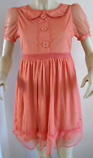 NEW LADIES MISS REAL PINK/ORANGE PETER PAN COLLAR VINTAGE STYLE DRESS SIZE 10