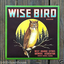Vintage Original WISE BIRD ORANGE FRUIT CRATE Box Label Unused NOS Owl 1930s