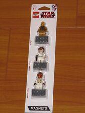 NEW Lego STAR WARS Minifigures C3P0 C3PO Princess Leia Admiral Ackbar Magnet Set