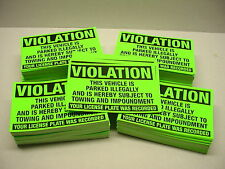 50 VIOLATION Parked illegal NO Parking Towing Impound Warning Sign Stickers