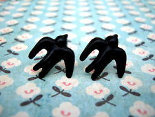 FUNKY BLACK SWALLOW BIRD EARRINGS CUTE KITSCH RETRO PIN UP SAILOR ROCKABILLY 50s