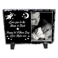 Personalised Happy 1st Fathers Day Rock Slate Photo Frame - Rectangle