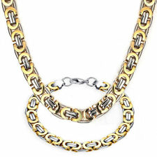 8.85''24' Men's 18k Yellow Gold filled Necklace Chain + Bracelet Jewelry Set 8MM