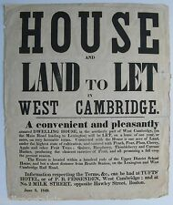 Arlington, Ma. (West Cambridge) 1849 Poster - House To Let near Brattle Station