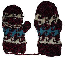 Winter GLITTEN - Red Blue Handmade Natural Pakistani Wool - Flip Glove Mitten B8