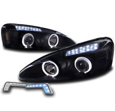 2004-2008 PONTIAC GRAND PRIX HALO LED BLACK PROJECTOR HEADLIGHT+BUMPER BLUE DRL