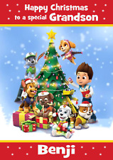 paw patrol A5 personalised Christmas card son daughter nephew grandson name