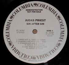 JUDAS PRIEST Sin After Sin PRMO LP Vinyl w HYPE Flyer Poster 1st Press METAL NM-