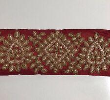 Atractivo indio Marrón Seda cruda con bordado de oro antiguo recorte/Encaje uno Mtr