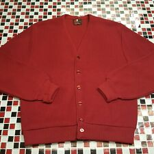 VTG 70's ~ ARNOLD PALMER Robert Bruce MEDIUM Dark Cardinal Red Cardigan Sweater