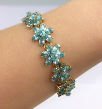 14k Solid Yellow Gold Cluster Bracelet, Natural Blue Zircon 7.5Inches, 130TCW