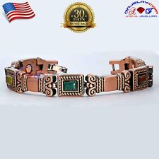 COPPER MAGNETIC GOLF BRACELET WOMEN ARTHRITIS PAIN MULTI GEMSTONE X37_A