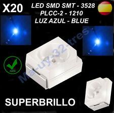 x20 Diodos Led SMD SMT 3528 PLCC-2 - 1210 Azul - Blue - Alta Calidad, Automoción