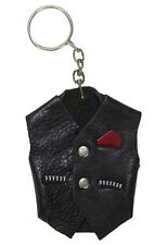 Miniature Motorcycle Vest Key Chain Ring Real Leather Key Ring Free Shipping New