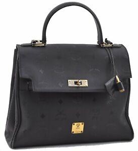 Authentic MCM Visetos PVC Leather Vintage Hand Bag Black E1365