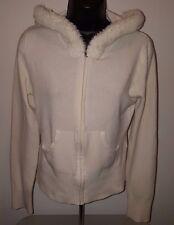 Candie's Juniors Womens Ivory Hoodie Zipper Sweater Top Size XL