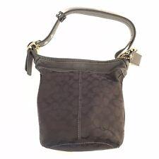 Coach 11437 Bleeker Black Signature Leather Trim Bucket Duffle Shoulder Bag