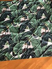 Polyester Fabric Shower Curtain Green Leafs Print