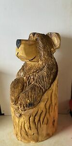 Chainsaw Carved  Wooden Bear In Stump Carved Bear Carvings