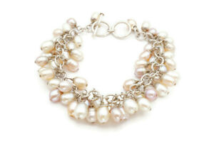 Silpada Sterling Silver 925 Pink And White Pearl Cha Cha Toggle Bracelet B1072