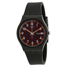 Swatch Sir Red Brown Dial Black Rubber Unisex Watch GB753