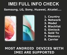 Android Full IMEI Check Service, Samsung, Sony, ZTE, LG, Country, Carrier, Sold