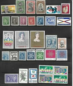 32 Canadian stamps MH some hinge remainder  (Various subjects) ($2.60 Bargain)