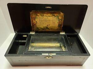 Antique Working 1800's Victorian Swiss Cylinder 8 Song Music Box Switzerland