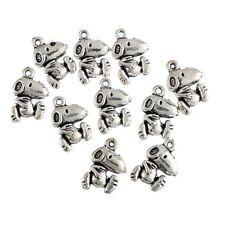 Cartoon Dog Beads Tibetan Silver Charms Pendant DIY Bracelet 18*11mm 10pcs