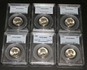 Lot of 6 PCGS ms64/ms65 Silver Washington Quarters - 55, 56-D, 60-D, 61, 62, 63