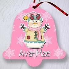 ALBERO di Natale personalizzata Ornamento Decorazione-BELL-Rosa pupazzo di neve