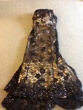 Ladies Size 12 Mon Cheri Black Sequined Lace & Cream Satin Formal Gown