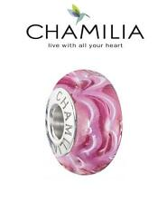Genuine CHAMILIA sterling silver RASPBERRY BERET SOUND WAVES Murano charm bead