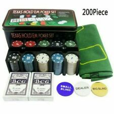 More details for texas hold em poker set 200pc case casino style card dealer chips accessories