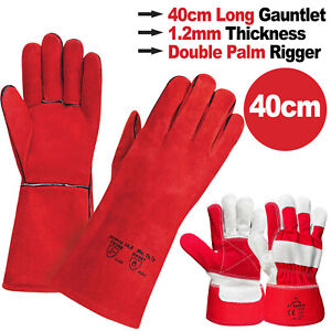 Red Welding Gauntlets Welder Safety Leather Work Gloves | Double Palm Red Rigger