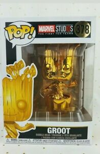 Funko Pop Gold Chrome Groot #378 Marvel Studios First Ten Years In Hand New