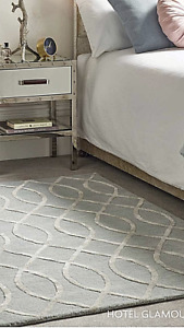 Origins Hotel Glamour Milan Luxury Wool/Viscose Blend Rug Grey/Silver  3D
