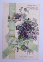 Neujahr, Blumen, Veilchen,   1909, Prägekarte  ♥