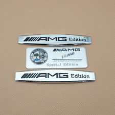 2Pcs Metal Side Fender AMG Edition + Rear Trunk AMG Special Silver Badge Emblem