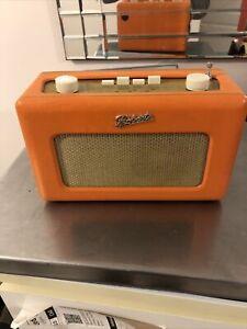 ROBERTS REVIVAL R250 VINTAGE RETRO PORTABLE RADIO Orange LEATHER EFFECT LW MW F