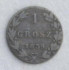 POLAND under Russia 1839MW copper 1 Grosz; toned bronze; About Fine