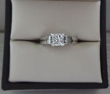 LOVELY 14K WG SI2/H .70 CARAT PRINCESS CUT DIAMOND SOLITAIRE ENGAGEMENT RING