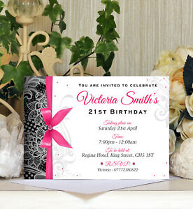 x60 Personalised Birthday Postcard Style Invitation Ages18th 21st 30th 40th etc